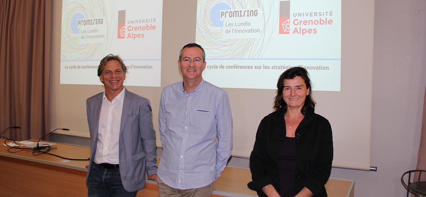 Thierry Ménissier, Yann Micheli et Fabienne Martin-Juchat aux Lundis de l'Innovation du 16 octobre 2017
